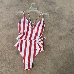 Striped side tie one piece